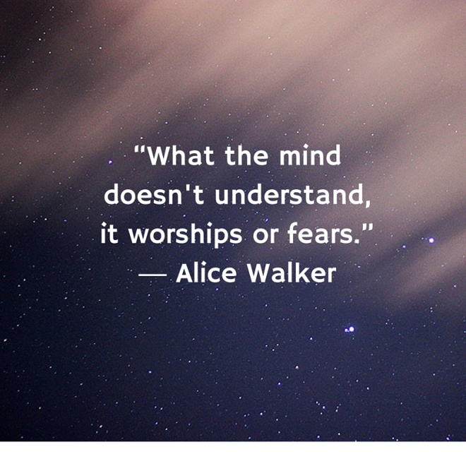 """What the mind doesn't understand, it worships or fears."" ― Alice Walker"