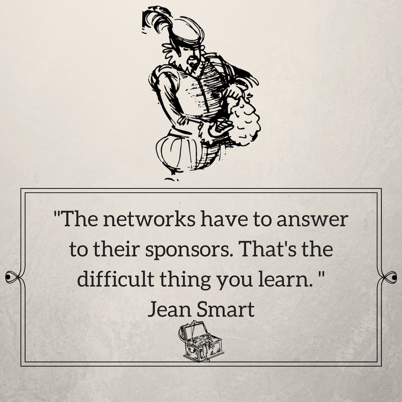 The networks have to answer to their sponsors. That's the difficult thing you learn. Jean Smart.png